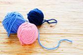 Three tangle of colored thread — Stock Photo