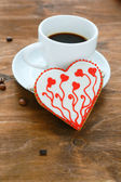 Coffee and cookies in the shape heart — Photo