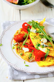 Omelet with vegetables and blue cheese — Stock Photo