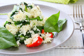 White rice with stewed spinach, food closeup — Stock Photo