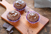 Simple chocolate muffins — Stock Photo