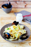 Nourishing pasta with seafood — Foto de Stock