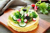 Maïs tortilla's en gehakte groenten — Stockfoto