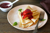 Crepes with jam — Stock Photo