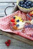Honey cereal, yogurt and berries for breakfast — Stock Photo