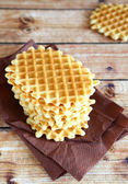 Stack of thin and crispy waffles — Stock Photo