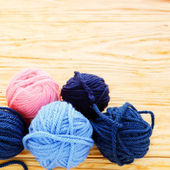 Colorful balls of yarn for knitting — Stock Photo