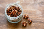 Anise in a jar, flavorful seasoning — Stock Photo