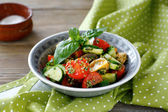 Salad with vegetables and pesto — Stock Photo