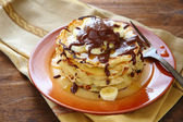 Pancakes with banana and chocolate — Stock Photo