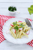 Penne pasta with radish — Stock Photo