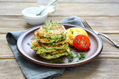 Stack of pancakes from vegetable marrows — Stock Photo
