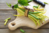 Fresh green beans tied with rope — Stock Photo