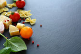 Ingredients for pasta to slate background — Stock Photo