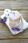 Stack shortbread cookies and lavender flowers — Stok fotoğraf
