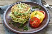 Zucchini fritters with dill — Stock Photo