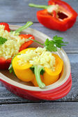 Cooking stuffed peppers — Stock Photo