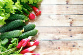 Fresh vegetables - radishes, cucumbers, onions — Stock Photo