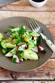 Boiled potatoes with radish and greens — Foto de Stock