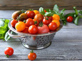 Tomatoes in a colander — Stock Photo