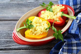 Peppers stuffed with rice curry — Stock Photo