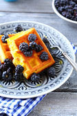 Fresh blackberries and waffles — Stock Photo