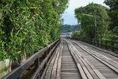 An old wooden bridge in Sangklaburi — Stock Photo