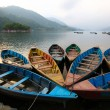 Colorful boats in Phewa lake, Nepal — Stock Photo
