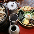 Japanese style cold soba noodle toppings on a tray — Stock Photo
