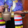 Stock Photo: Tibetwomen serving traditional style milk tea, Shangri-La, Ch
