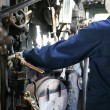 Stock Photo: Stream train worker inside the cockpit