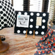 Polka dot vintage lamp and a colorful shawl — Stockfoto