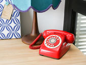 Red vintage telephone — Stock Photo