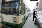 намеренно размыты движением прибывающих поездов — Стоковое фото