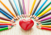 Heart and pencil — Stock Photo