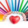 Heart and pencils — Stock Photo