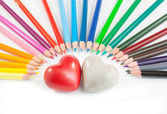 Two hearts with coloured pencil — Stock Photo