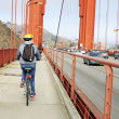 Tourist Cyclist in the Golden Gate — Stock Photo #23758037