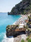 Positano beach, costiera amalfitana, Itálie — Stock fotografie