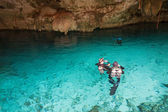 Diving in a cenote, Mexico — Stock Photo