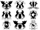 Horse theme heraldry — Stock Vector