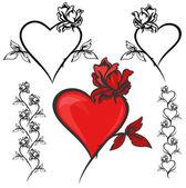 Flowers and hearts — Vector de stock