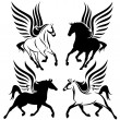 Stock Vector: Winged horses