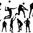 Volleyball silhouettes - Stock Vector