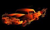 Flaming car — Stock Vector