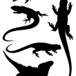 Stock Vector: Lizards silhouettes