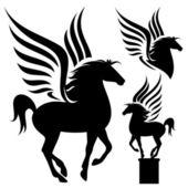 Prancing pegasus silhouette — Stock Vector