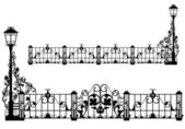 Antique garden fence — Stock Vector