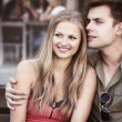 Lovely couple on bench — Stock Photo