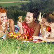 Girls on picnic in mountains — Stock Photo #27048297